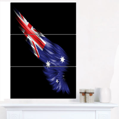 Designart Wing With Australian Flag Abstract PrintOn Canvas - 3 Panels