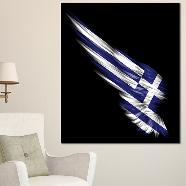 Designart Wing With Greece Flag Abstract Print OnCanvas - 3 Panels