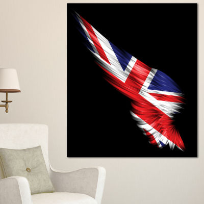 Designart Wing With United Kingdom Flag Abstract Print On Canvas