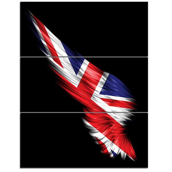 Designart Wing With United Kingdom Flag AbstractPrint On Canvas - 3 Panels