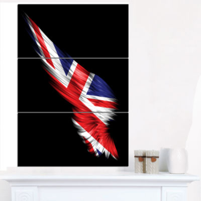 Designart Wing With United Kingdom Flag Abstract Print On Canvas - 3 Panels