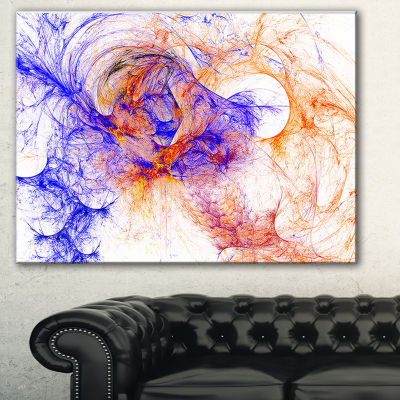 Designart Wings Of Angels Blue Abstract Canvas ArtPrint - 3 Panels