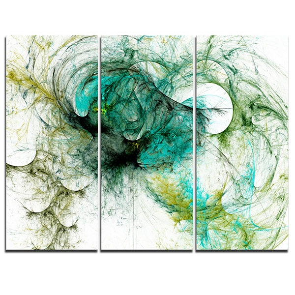 Designart Wings Of Angels Green Abstract Canvas Art Print - 3 Panels