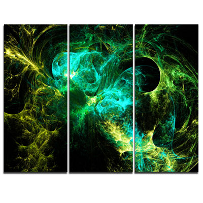 Designart Wings Of Angels Green In Black AbstractArt - 3 Panels