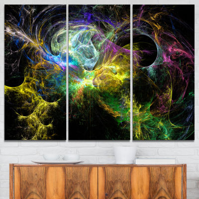 Designart Wings Of Angels Yellow Abstract Canvas Art Print - 3 Panels