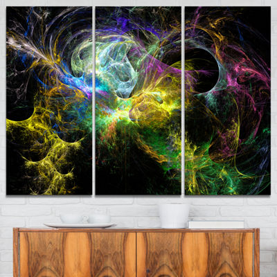 Designart Wings Of Angels Yellow Abstract CanvasArt Print - 3 Panels