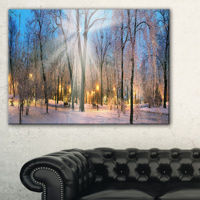 Designart Winter At Mariinsky Gardens Landscape Photography Canvas Print - 3 Panels