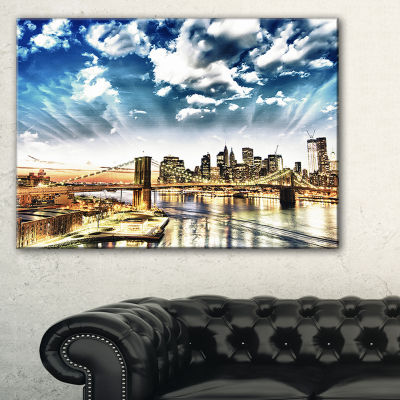 Designart Winter Clouds Over Manhattan Cityscape Photo Canvas Print - 3 Panels