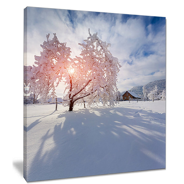 Designart Winter In Carpathian Village LandscapePhoto Canvas Art Print