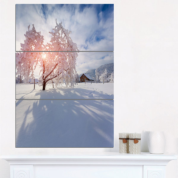 Designart Winter In Carpathian Village LandscapePhoto Canvas Art Print - 3 Panels