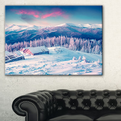 Designart Winter Morning In Carpathian LandscapePhotography Canvas Print - 3 Panels