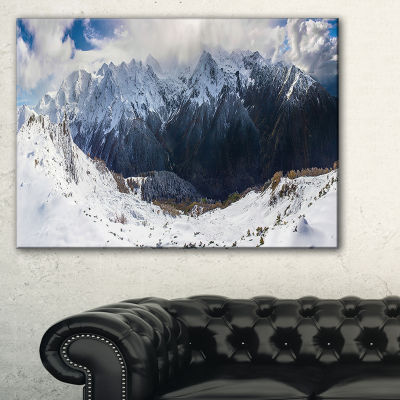 Designart Winter Mountain In Svaneti Landscape Photography Canvas Print - 3 Panels