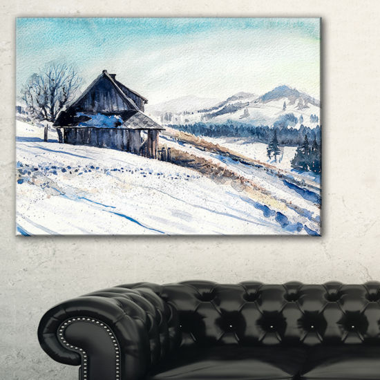 Designart Winter Mountains Watercolor Landscape Painting Canvas Print