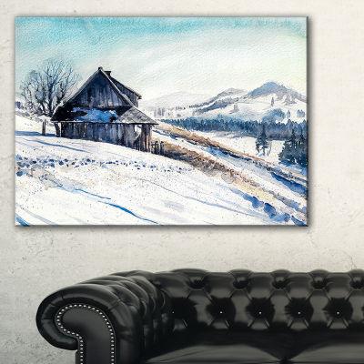 Designart Winter Mountains Watercolor Landscape Painting Canvas Print - 3 Panels