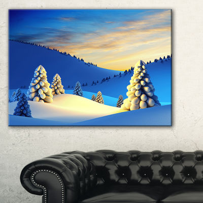 Design Art Winter Mountains With Fir Trees Landscape Photography Canvas Print