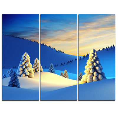 Designart Winter Mountains With Fir Trees Landscape Photography Canvas Print - 3 Panels