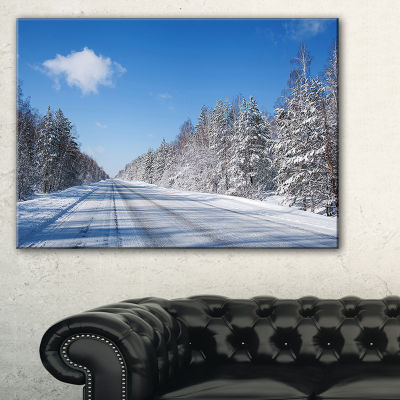 Designart Winter Road Landscape Photography CanvasArt Print - 3 Panels
