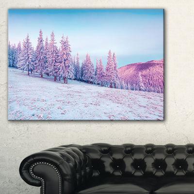 Designart Winter Sunrise In Mountains Landscape Photography Canvas Print