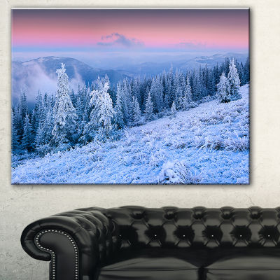 Designart Winter Sunrise Over Mountain LandscapePhotography Canvas Print
