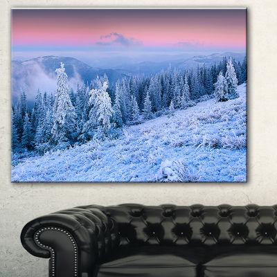 Designart Winter Sunrise Over Mountain LandscapePhotography Canvas Print - 3 Panels