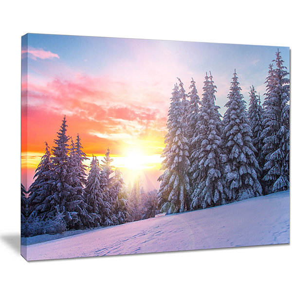 Designart Winter Sunset In Bulgaria Landscape Photo Canvas Art Print