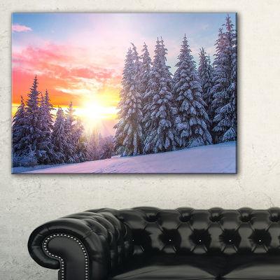 Designart Winter Sunset In Bulgaria Landscape Photo Canvas Art Print - 3 Panels