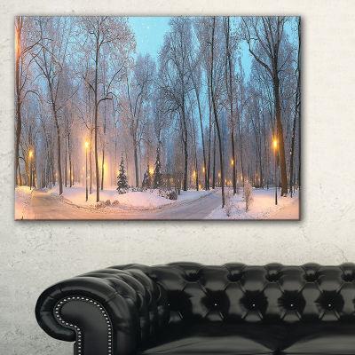 Designart Winter Time Mariinsky Garden LandscapePhotography Canvas Print - 3 Panels