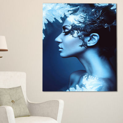 Designart Winter Woman With Splash Portrait CanvasArt Print