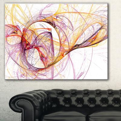 Designart Wisps Of Smoke Orange Purple Abstract Canvas Art Print - 3 Panels