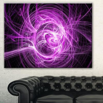 Designart Wisps Of Smoke Purple In Black AbstractCanvas Art Print - 3 Panels