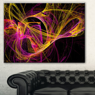 Designart Wisps Of Smoke Yellow In Black AbstractCanvas Art Print