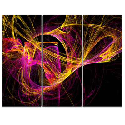 Designart Wisps Of Smoke Yellow In Black AbstractCanvas Art Print - 3 Panels