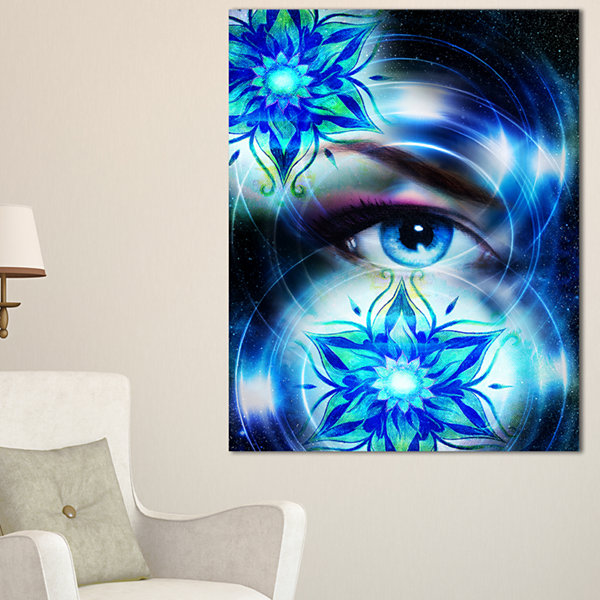 Designart Woman Eye With Fractal Flowers Floral Art Canvas Print - 3 Panels