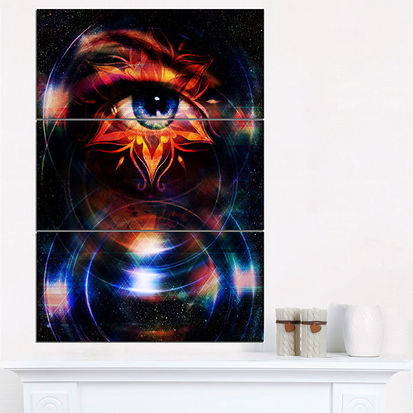 Designart Woman Eye With Fractal Star Floral ArtCanvas Print - 3 Panels