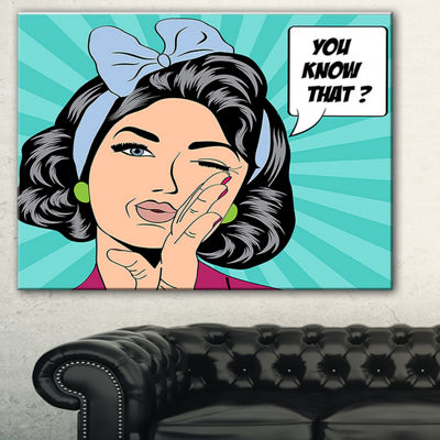 Designart Woman In Comic Style Abstract PortraitCanvas Print