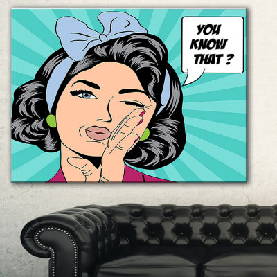 Designart Woman In Comic Style Abstract Portrait Canvas Print - 3 Panels