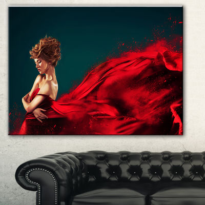 Designart Woman In Flying Red Dress Abstract Portrait Canvas Print
