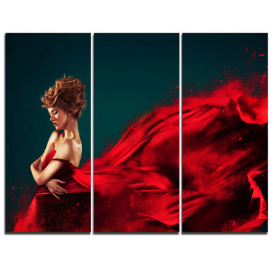 Designart Woman In Flying Red Dress Abstract Portrait Canvas Print - 3 Panels