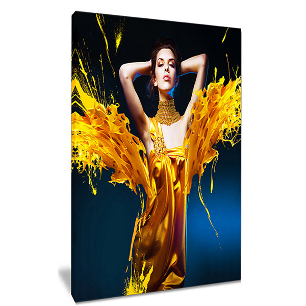 Designart Woman In Yellow With Jewelry Portrait Canvas Art Print