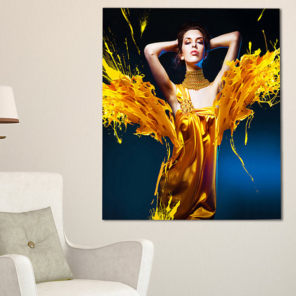 Designart Woman In Yellow With Jewelry Portrait Canvas Art Print - 3 Panels