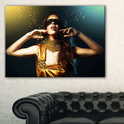 Designart Woman In Yellow With Mask Portrait Canvas Art Print - 3 Panels
