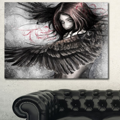 Designart Woman Sketch With Eagle Wings AbstractPortrait Canvas Print - 3 Panels