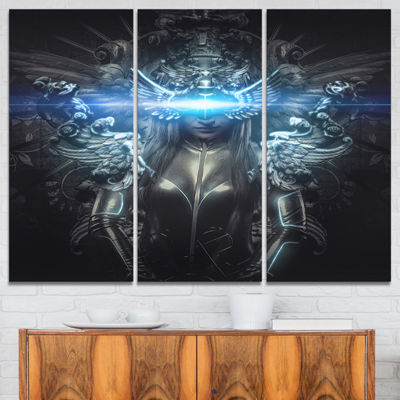 Designart Woman Suit With Relief Abstract CanvasArt Print - 3 Panels