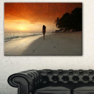 Design Art Woman Walking On Beach Seashore Photo Canvas Art Print