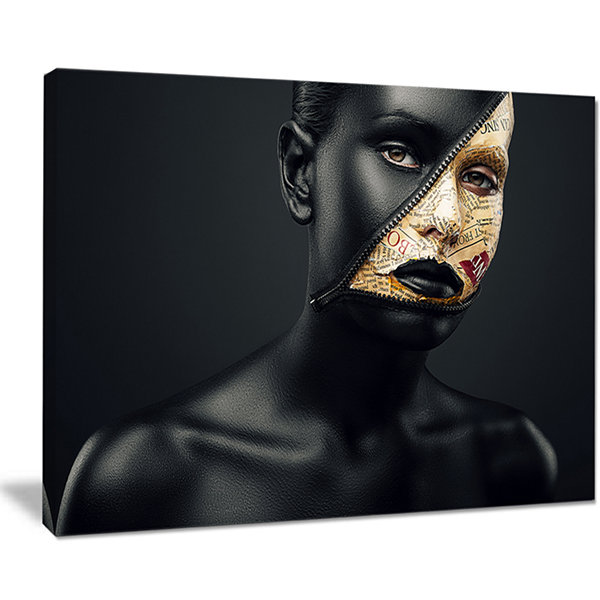 Designart Woman With A Zip On Face Portrait CanvasArt Print