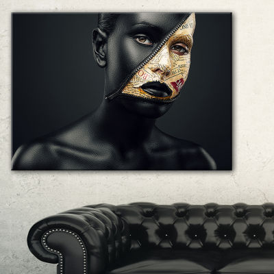 Designart Woman With A Zip On Face Portrait CanvasArt Print - 3 Panels