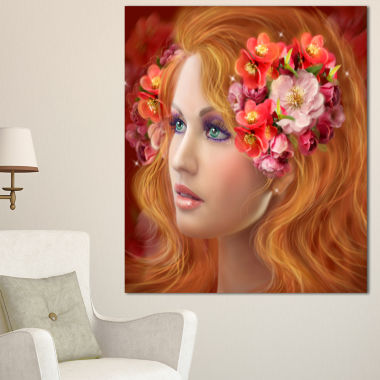Designart Woman With Autumn Flowers Abstract Portrait Canvas Print