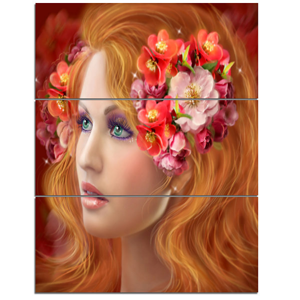 Designart Woman With Autumn Flowers Abstract Portrait Canvas Print - 3 Panels