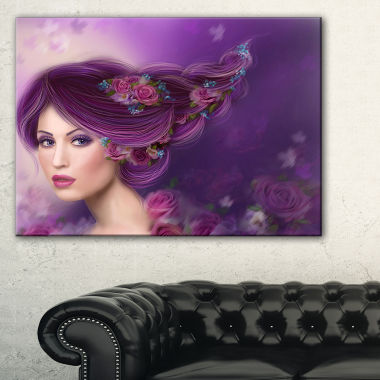 Designart Woman With Purple Hair Abstract PortraitCanvas Print