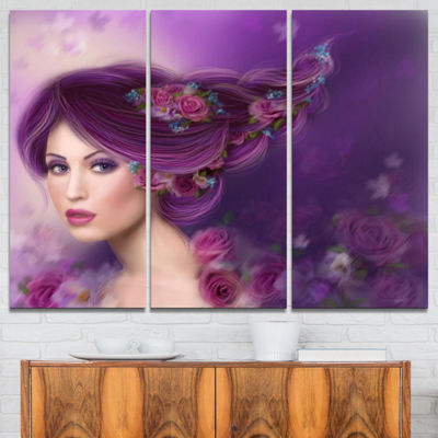 Designart Woman With Purple Hair Abstract PortraitCanvas Print - 3 Panels